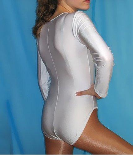 Damen-Stretchsatinbody / Tanzbody mit langen Ärmeln