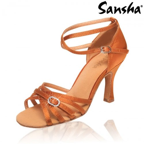Tanzschuh ADRIANA, 8,5 cm Absatz, Satin Tan, light Tan