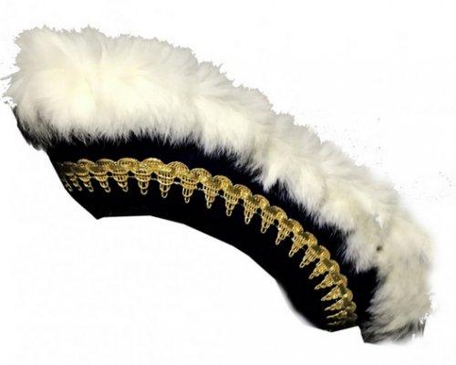 Dreispitz Gardehut leichter Wollfilz mit Futterband, Borte, echter Kaninfellbesatz